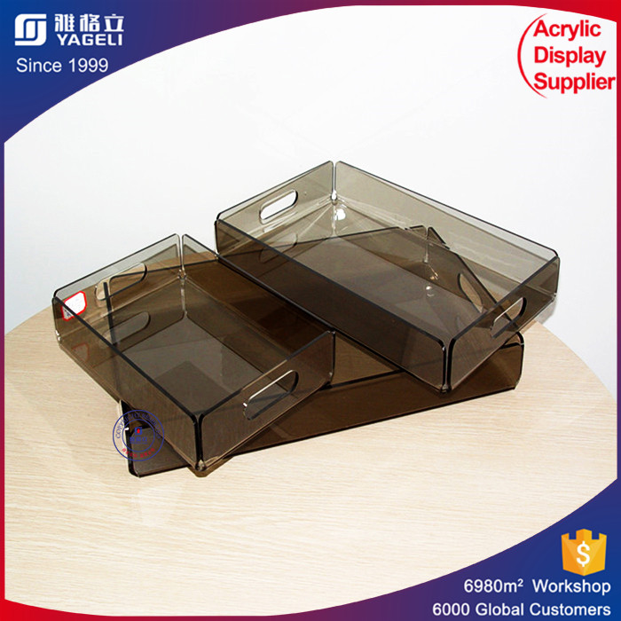 Fancy design various color lucite acrylic tray plexiglass dinner display tray with 17 years experiece made in China