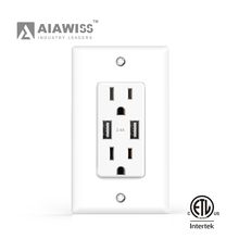 Electric usb wall Outlet/socket with 15 Amp 125V Tamper-Resistant Duplex Receptacle