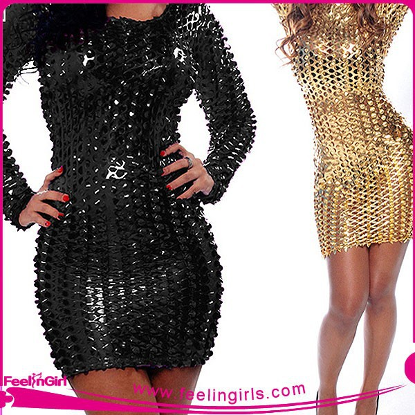 Wholesale Hot Sale Ladies Stretch Black and Gold Bodycon Dress