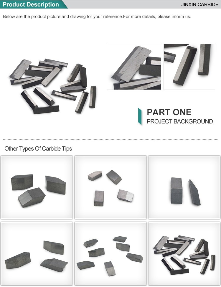 Tungsten Cemented saw tips YG6 Tungsten Carbide Saw Tips JX Series