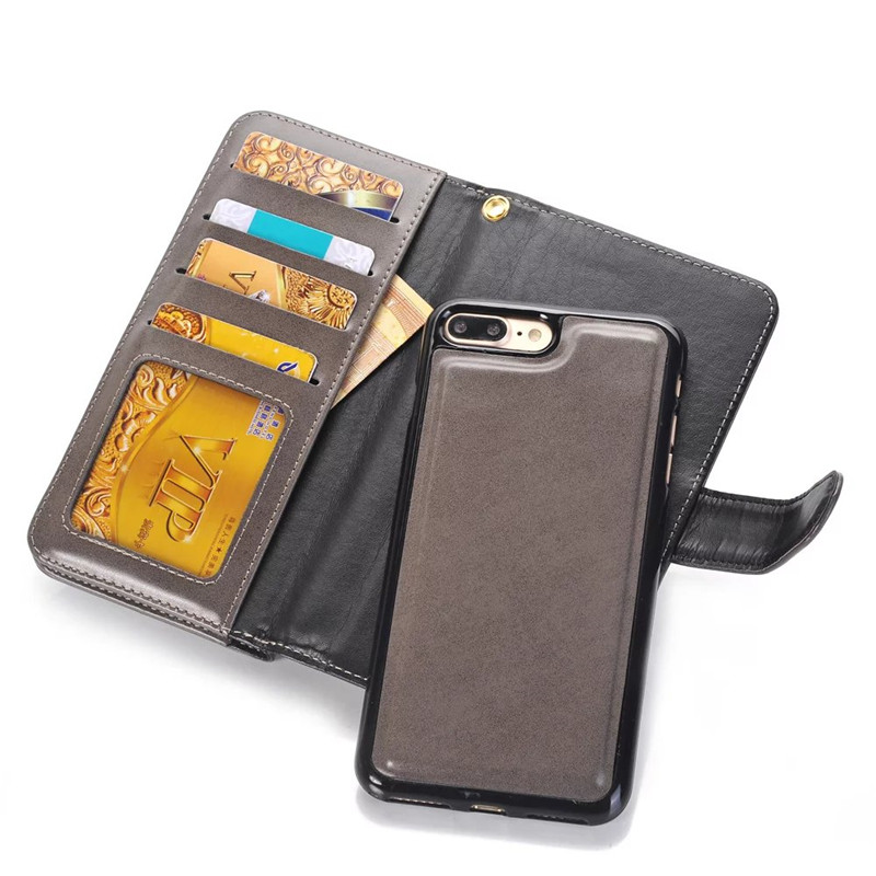 New product detachable pu wallet leather case for iphone