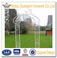 Ornate Antique White Wrought Iron Metal Rose Garden Arch