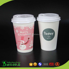 Food grade wooden pulp paper 16oz advertising cup and bowls with cap