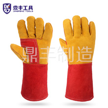 China supplier long yellow safty working leather welding gloves