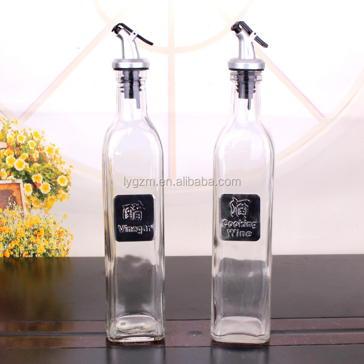 Cooking olive Oil Bottle Glass Seasoning Bottle 500ml With Oil Pour Spout