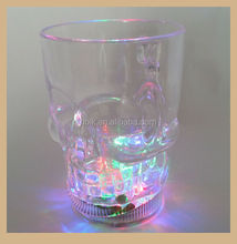 Clear Plastic Skull Flashing Led Beer Mug Light Up Barware Drink Cup