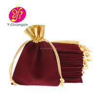 Customized metallic red velvet christmas gift bag from alibaba China