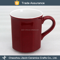 Fancy design large capacity heat resistant deep red ceramic coffee cup for home decoration