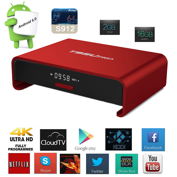 Online movie watch free fully tv box Android 6.0 mashmallow amlogic S912 OEM wechip T95U PRO unlock android tv box