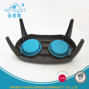 Outside Pet Feeder Collapsible Bowl Unbreakable Silicone Dog Rubber Folding bowl with tray