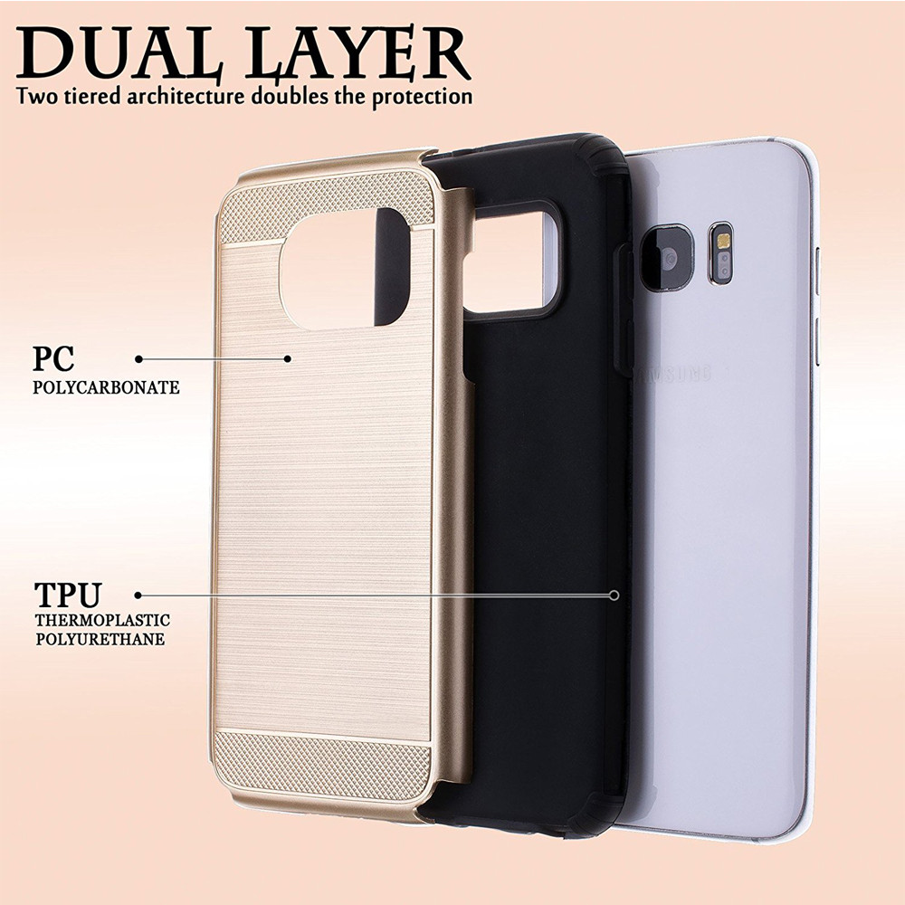 C&T Dual Layer TPU Bumper Cell Phone Case for Samsung Galaxy S7 Edge
