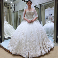 High quality heavy beading crystal wedding dress for sale online bridal gown
