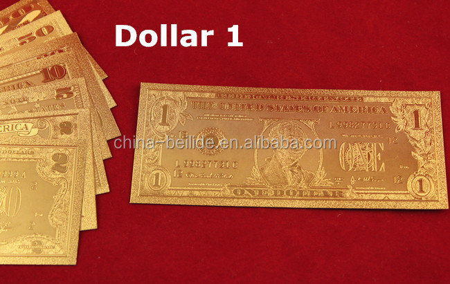 US banknotes plated 24k gold foil dollar bill one set banknotes for collection