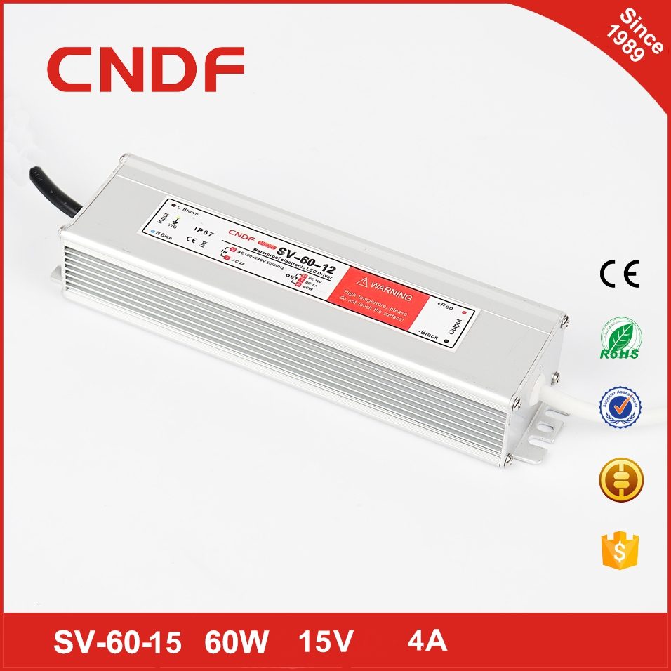 Factory outlet ac-dc waterproof led driver 60w 15v 4a dc transformer led strip driver grow light power supply