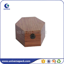 Eco-friendly hexagonal lightweight wood box for candle