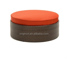 New modern high quality rattan round ottoman with fabric cushions footrest