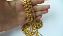 18k gold plated stainless steel rope chain necklace 2mm