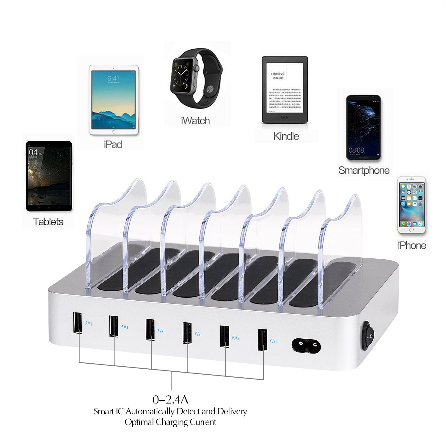 MIQ Family Office 6 Ports Desktop Charging Station 2.4A Multi Quick USB Charger Dock Station