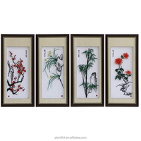 handicrafts iron picture, four gentlemen in flowers, Chinese style arts & crafts, matal arts wall pictures