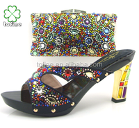 High quality wholesale fashion evening shoes with stones with matching bags for wedding