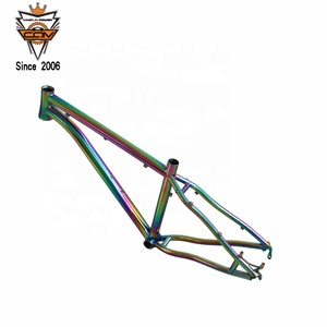COMEPLAY custom rainbow titanium MTB bike frame mountain bicycle frame with thru anxle dropouts and A post mount disc brake