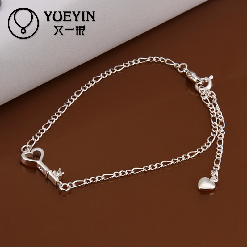 2014 Stylish body jewelry white gold ankle bracelet with key pendant