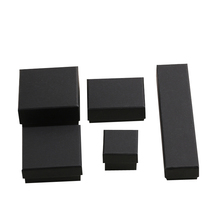 China Warehouse Small Black Paper cardboard Jewelry Gift Box with Sponge for ring necklace bracelet