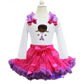 Hot Pink Purple Pettiskirt Embroidered Doc McStuffins White Tee Party Dress 1-7Y