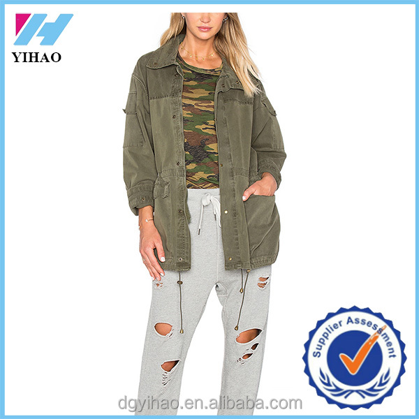 Yihao 2016 winter wholesale Cotton blend zip front Sleeve and side flap pockets with drawcord waist and hem denim jacket