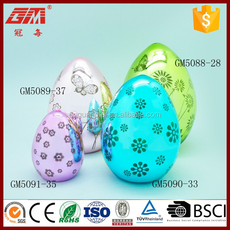 gold supplier manufacture decorative easter glass egg with led light