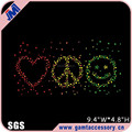 Bling love peace & smile face rhinestone transfer for apparel