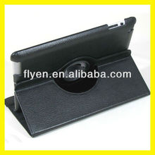 Magnetic Rotating Leather Case for the New iPad 3 Smart Cover With Swivel Stand 360 Degree Plain Synthetic Color Black