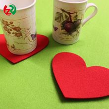 China Wholesale Make to order online shop felt coaster, top pad heart shape felt table mat