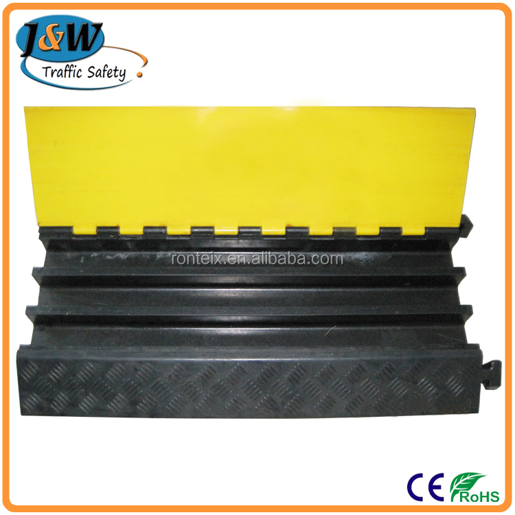 Yellow and Black Flexible 3 Channel Cable Cover Rubber