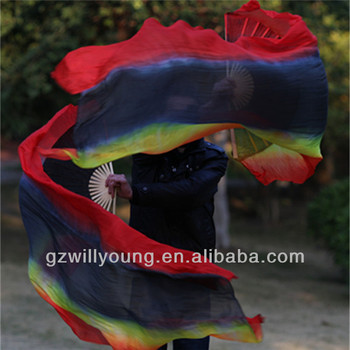 Four Horizontal Colors, Red/Black/Yellow/Red, Belly Dance 100% Real Silk Fan Veils, 1.8M, Silk Veils
