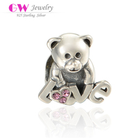 Alphabet Love Lucky Bear Model Large Hole Pure Silver Bracelet Charms