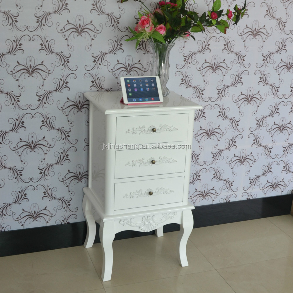 modern style white pine bedside table 3 drawer chest