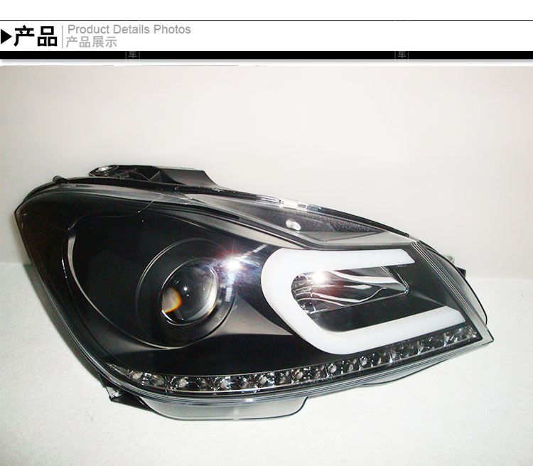 2011 2013 version double lens angel eye LED HID Xenon turning car head lamp for series C W204 C200 C260 head light