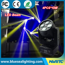 China dmx 4x10w rgbw super beam mini led moving head light