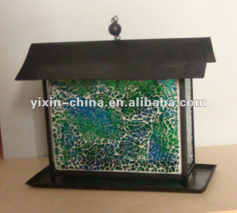 Mosaic Glass Amber Bird Feeder Green And Blue Color