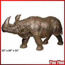 Garden Decorative Large Bronze Rhinoceros Sculpture
