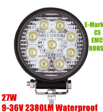 CE ROHS EMARK approved 27w 12v led tracor work light ,auto parts,high quality with low price 27w 4inch led work light round