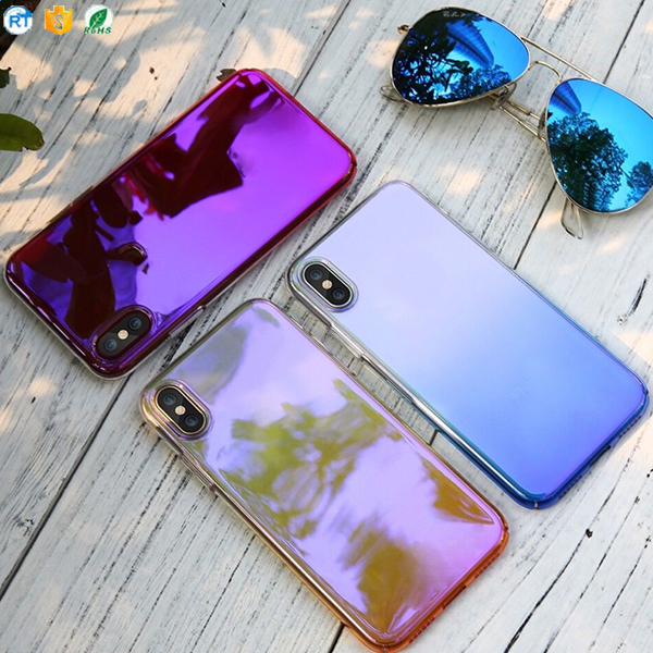 Hot Sale Gradient Color Rainbow Frosted Bumper Phone Cover For iPhone x