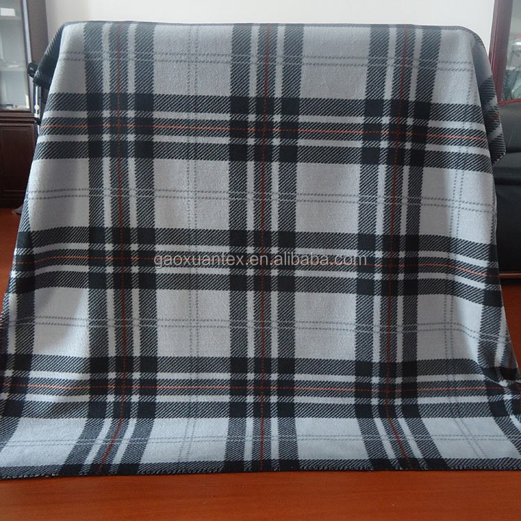 Blanket factory supply 100% polyester rotary printed check design polar fleece blanket