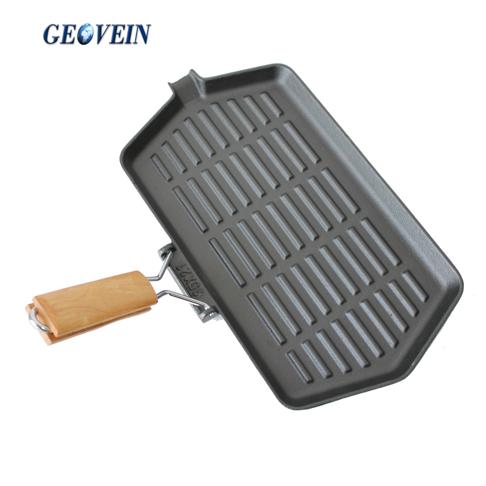 Vegetable Oil Cookware Cast Iron BBQ Grill Pan Steak Plate for Roast Picnic