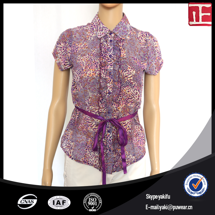 Women casual blouses designs short sleeve blouse