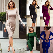 Wholesale Custom Bandage Dress 2016 Women's Sexy Bodycon Dress Long Sleeve Backless Cocktail Club Party Sexy Dress