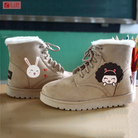 2016 New Women's Flat Lace Up Fur Winter Martin Boots Snow Ankle Boots Shoes