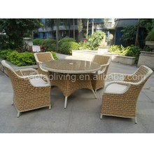 aluminum plastic resin rattan chair, hotel dining chair and table