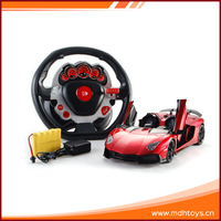 Top racing open door toy remote control car 4.5g 1:14 rc car with steering wheel and light